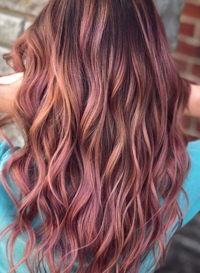 Волосы цвета молочного шоколада с розовым оттенком два