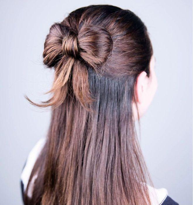 прическа бантик с распущенными волосами второй
