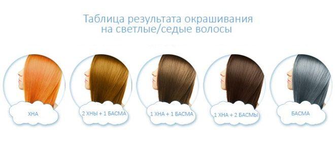 Басма для волос пропорции и цвет седые