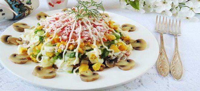 салат с крабовыми палочками грибами и сыром