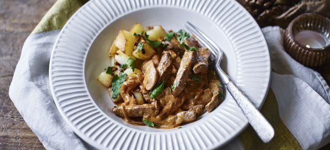классический рецепт бефстроганов из говядины со сметаной