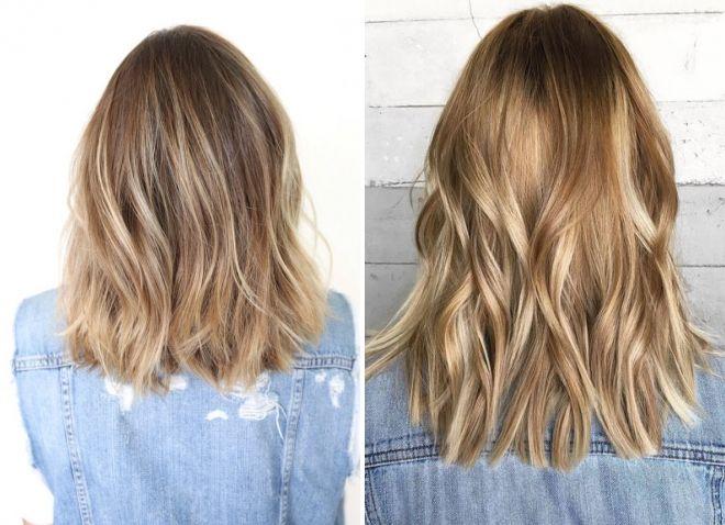 теплый блонд на средние волосы
