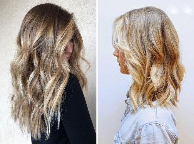 средние волосы с теплым блондом