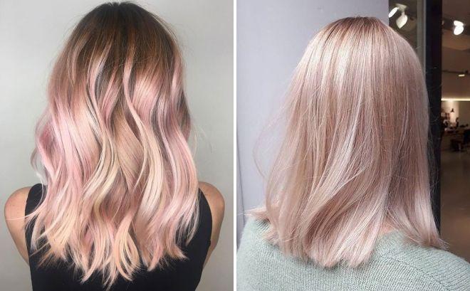 теплый блонд с розовым оттенком