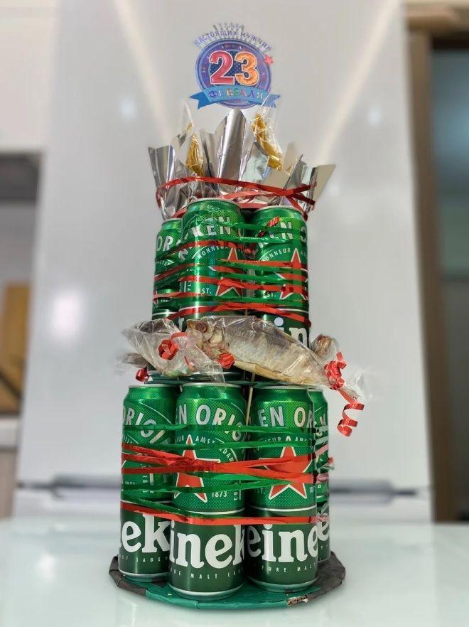 двухъярусный торт из пива