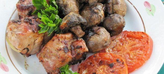 шашлык из свинины с грибами в духовке