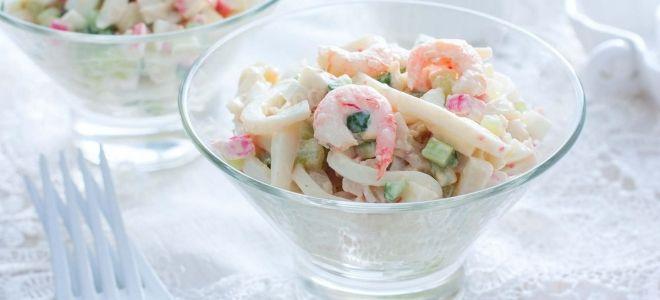 салат с крабовыми палочками и креветками рецепт