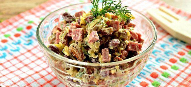 вкусный салат с консервированной фасолью