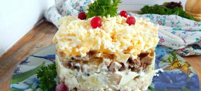 салат с копченой курицей и грибами шампиньонами