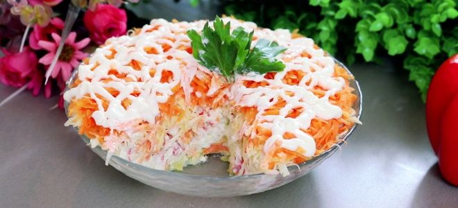 салат бархатный с крабовыми палочками слоями рецепт