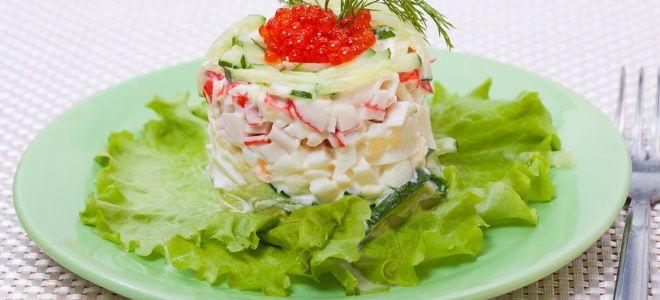 слоеный салат с крабовыми палочками и кальмарами