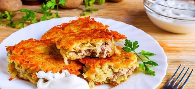 картофельные драники с фаршем на сковороде рецепт