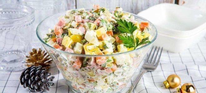 классический зимний салат с колбасой рецепт