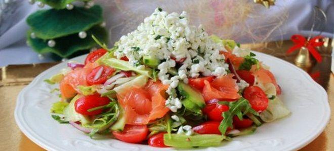 зимний салат с красной рыбой