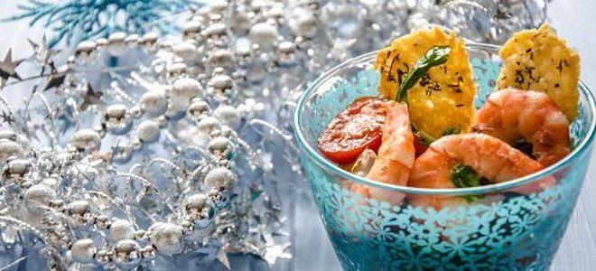 зимний салат с креветками