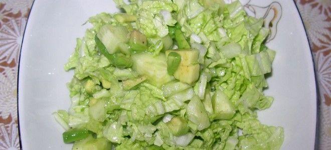салат с авокадо пекинской капустой и огурцом