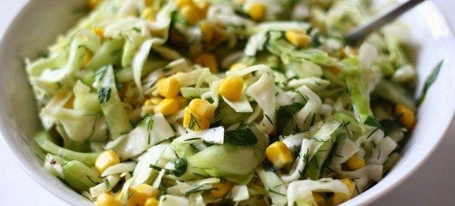 салат из капусты огурцов и кукурузы