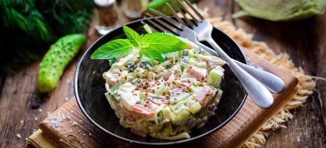 салат из капусты колбасы и огурцов