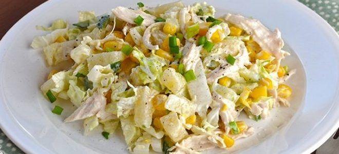 салат с курицей капустой огурцом