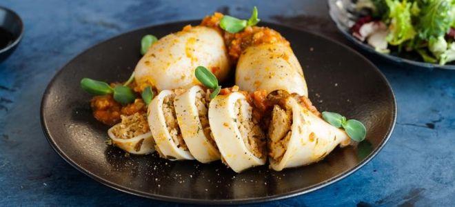 Рецепт фаршированных кальмаров в духовке