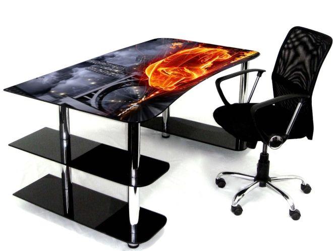 стеклянный стол с фотопечатью и нижними боковыми полками