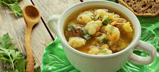 суп из цветной капусты с копченостями