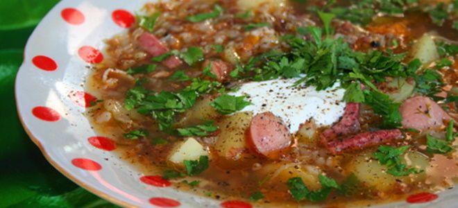 суп с копченостями и гречкой