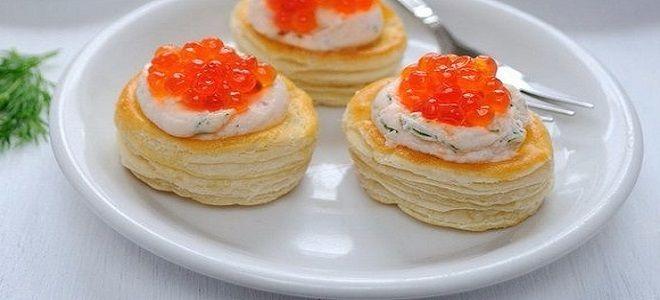 закуска из красной икры в тарталетках