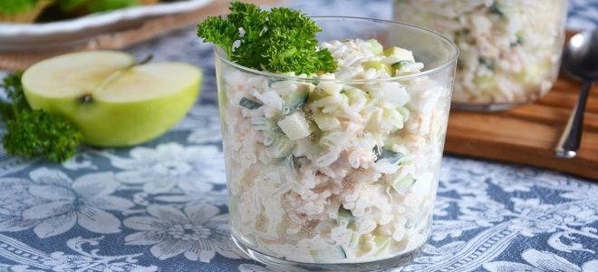 салат с мясом криля и рисом