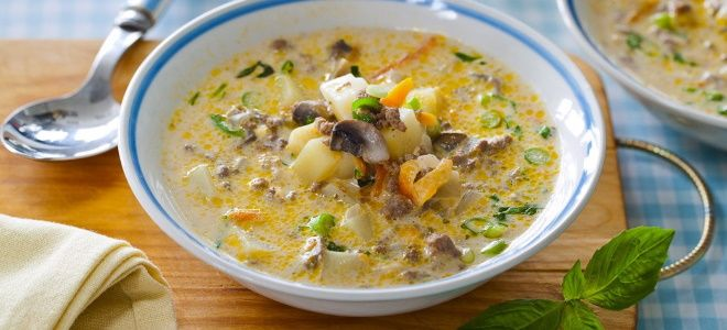 грибной суп с картошкой и сыром