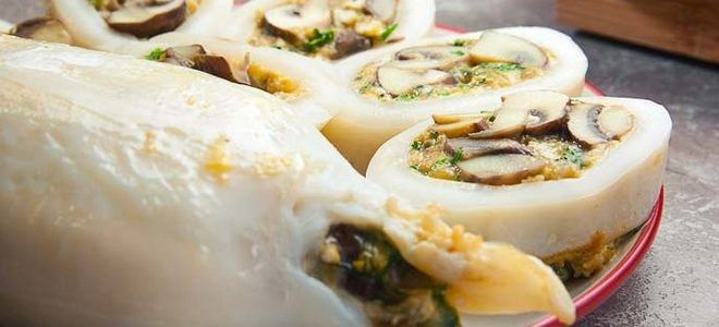 кальмары фаршированные грибами и яйцом