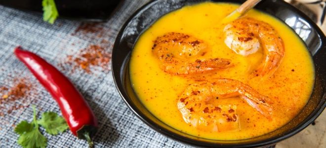 классический тыквенный суп пюре с креветками