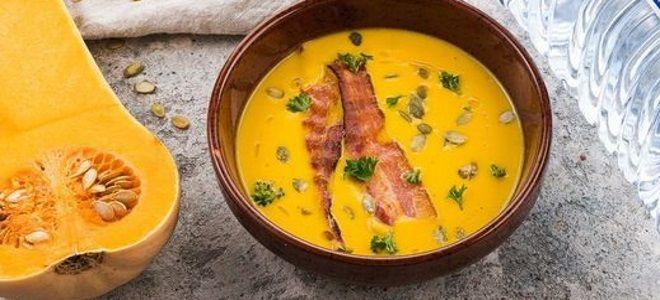 тыквенный суп со сливками и беконом