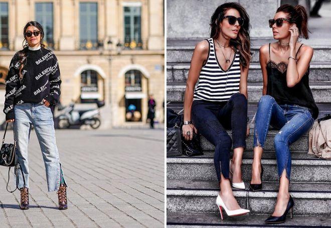 джинсы с модными разрезами