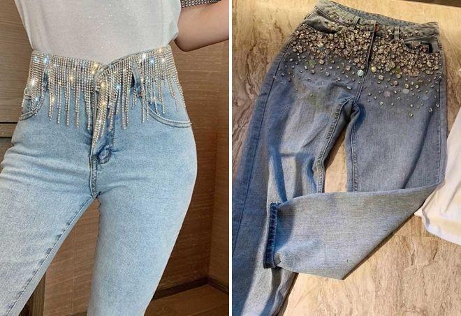 модные джинсы со стразами