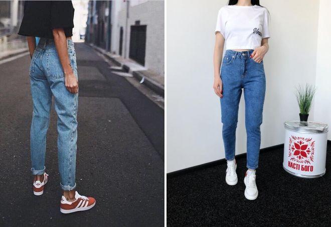 модные джинсы мом
