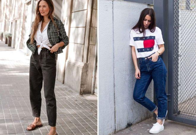 широкие женские модные джинсы