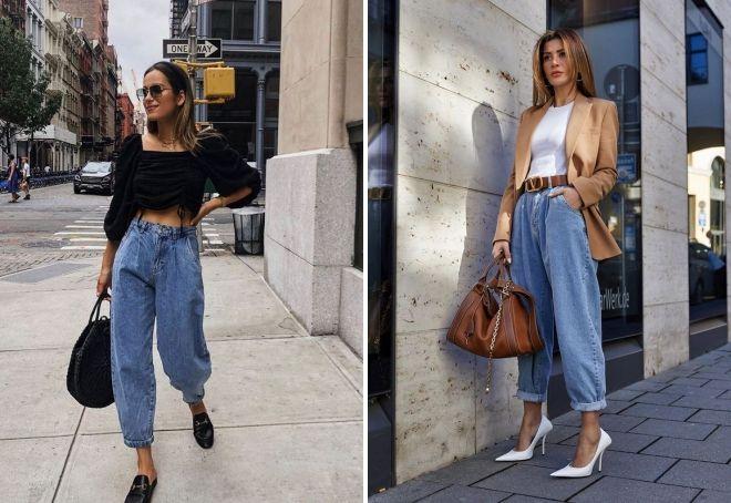 модные свободные джинсы