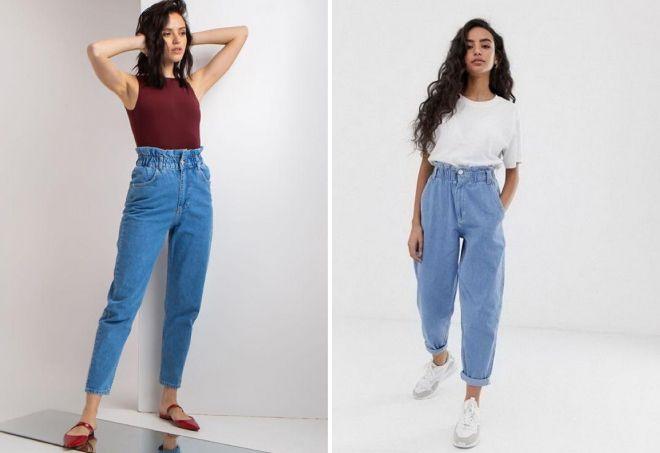 модные женские джинсы на резинке