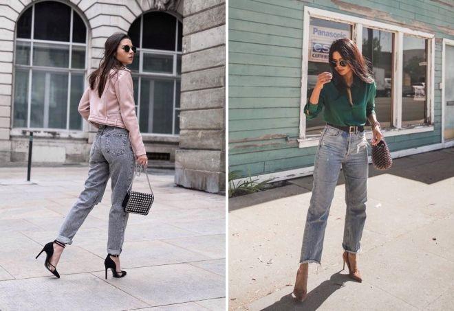 модные серые джинсы