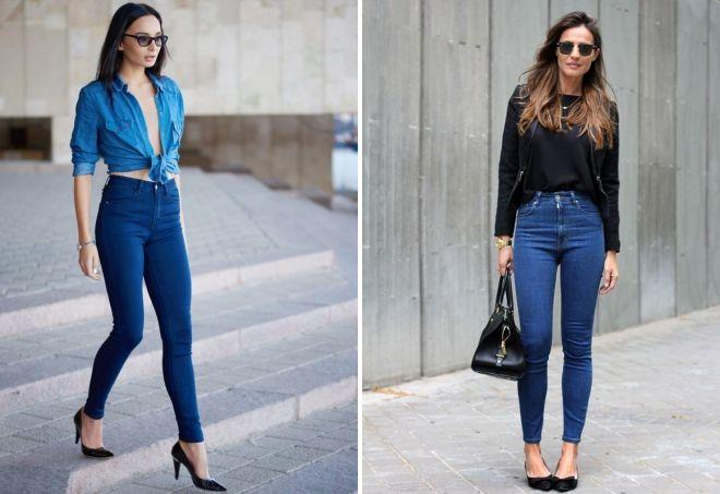 модные синие джинсы
