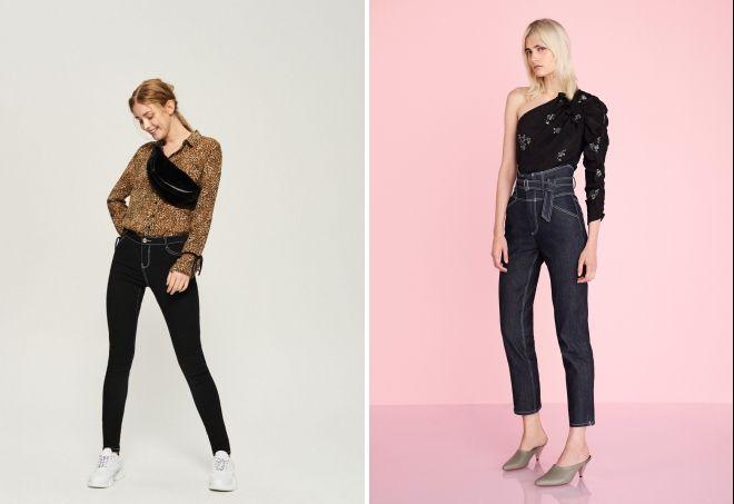 модные женские черные джинсы