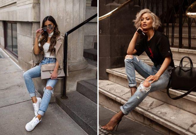 светлые модные джинсы