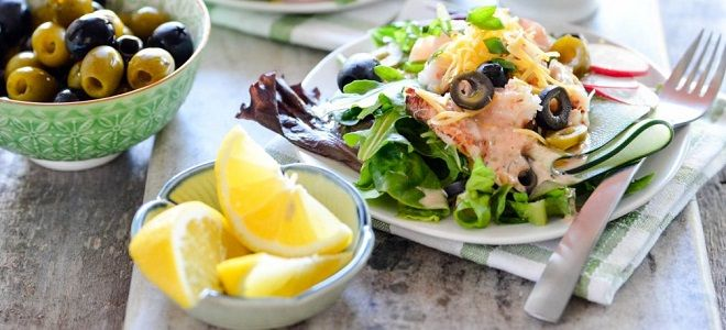 салат с мясом криля и креветками