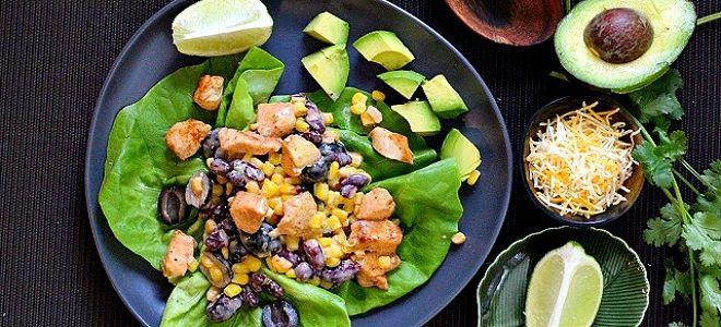 мексиканский салат с курицей фасолью и кукурузой