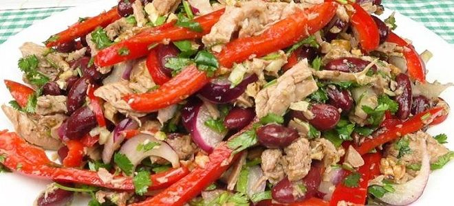 салат тбилиси с красной фасолью и куриной грудкой