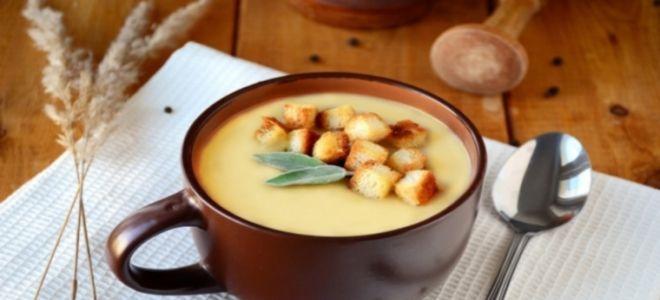 суп пюре из шампиньонов с плавленным сыром