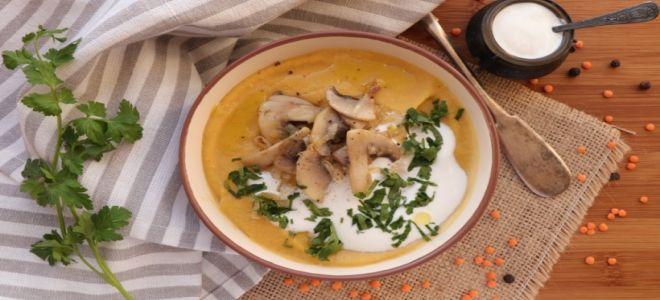 суп пюре из шампиньонов и чечевицы