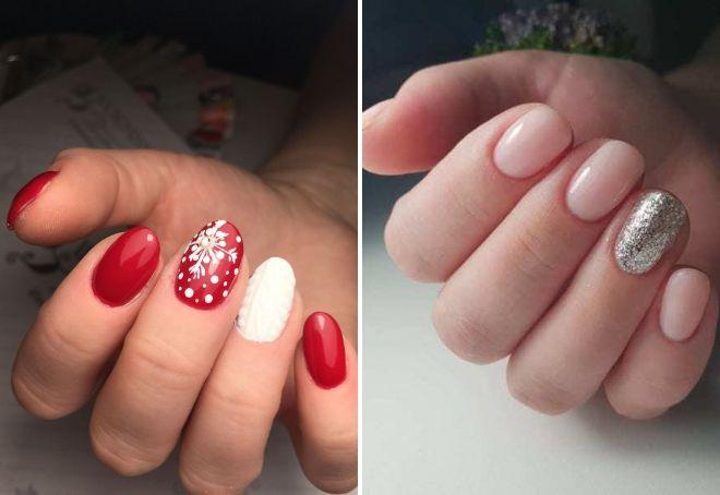 новогодний маникюр на короткие овальные ногти
