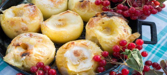 как запечь яблоки без кожуры в духовке